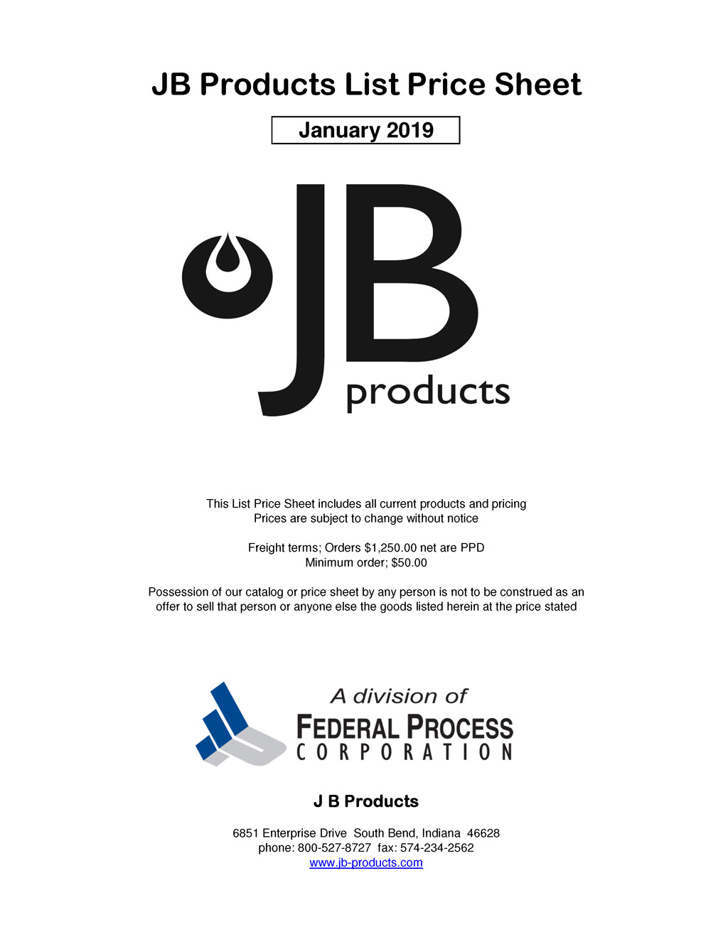 2019 JB-Products List Price Sheet cover